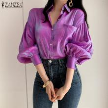 Camicie a colori sfumati ZANZEA donna 2021 camicetta luminosa moda donna elegante bottone bavero Blusa Casual manica a sbuffo Top Oversize