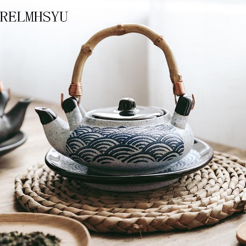 RELMHSYU النمط الياباني الرجعية السيراميك المأكولات البحرية حساء إبريق الشاي الصغيرة كوب الماء تبخير وعاء المطبخ واحد مطعم المنزلية مجموعة