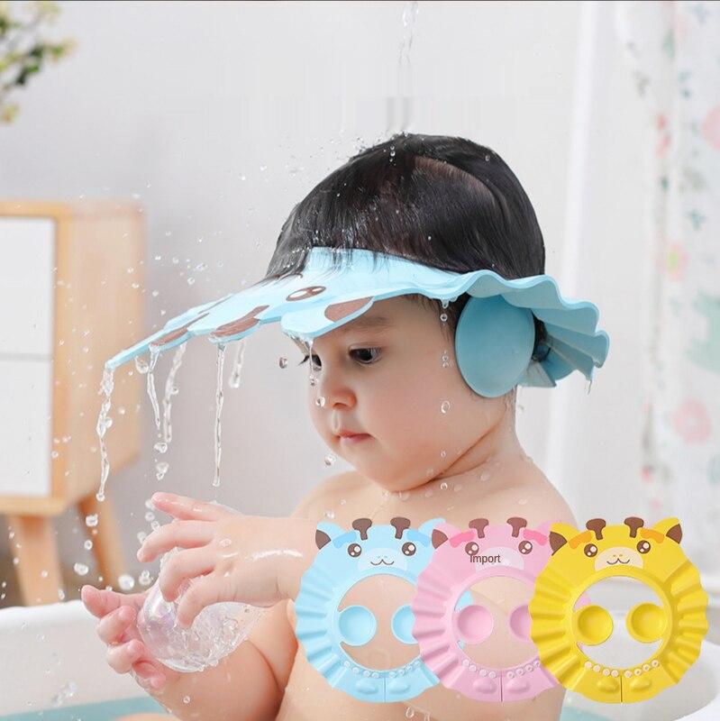 Gorro de baño ajustable para bebé, gorro de baño grueso con cubierta de dibujos animados, protector para el pelo para niños de 0 a 6 años