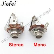 """3 piezas 2 polos Mono/3 polos Conector estéreo con interruptor de Audio conector hembra 6,35mm 6,3mm toma de Panel de soldadura de 1/4"""""""