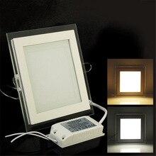 6W 9W 12W 18W Dimmable LED panneau Downlight carré couvercle en verre lumières haute luminosité plafond encastré lampes AC85-265 + pilote