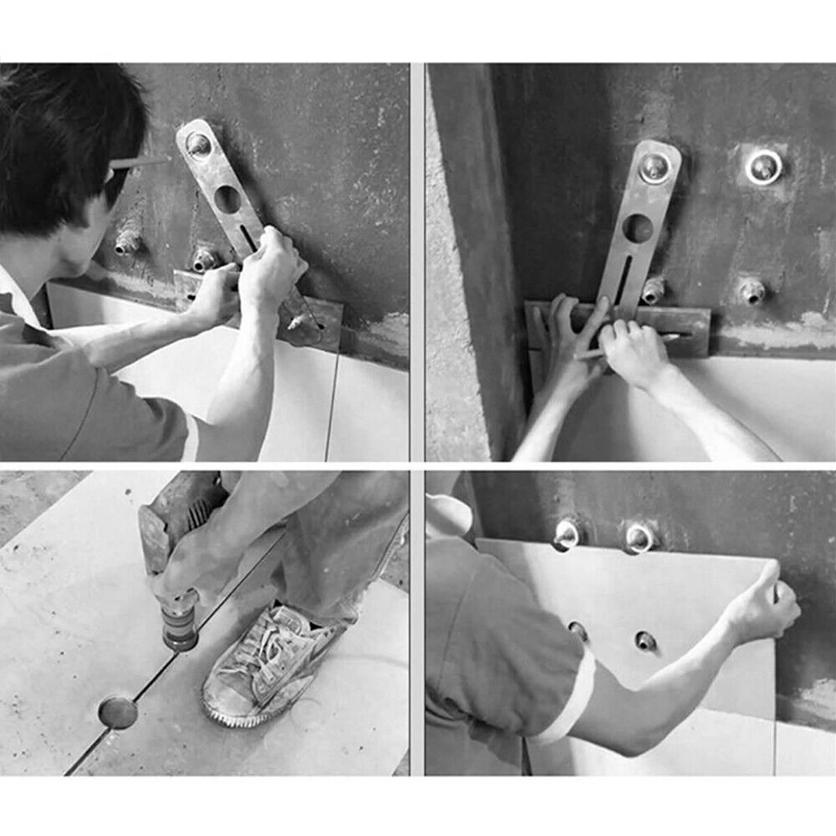 Купить с кэшбэком Multi-Functional Stainless Steel Ceramic Tile Hole Locator Ruler Adjustable Punching Hand Tool for House Decorated Work