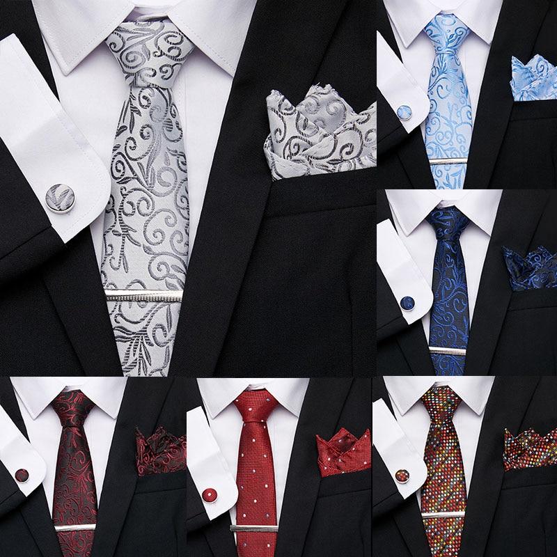 Men's 7.5 cm Print Necktie Polyester Jacquard 100% Silk Men Tie Flomal Dress Accessories Wedding Party Mens Classic Ties Set недорого