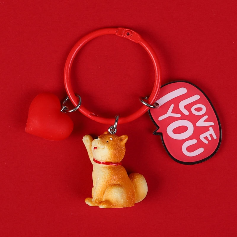 Cute Dog Whale Keychain Figure Rubber Doll Toys Key Ring Holder Shiba Inu Bull Terrier Excellent Gift For Car Accessories  - buy with discount