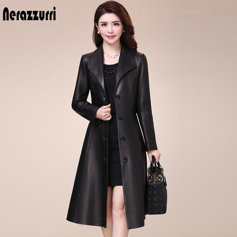 nerazzurri primavera outono longo preto falso casaco de couro feminino manga comprida