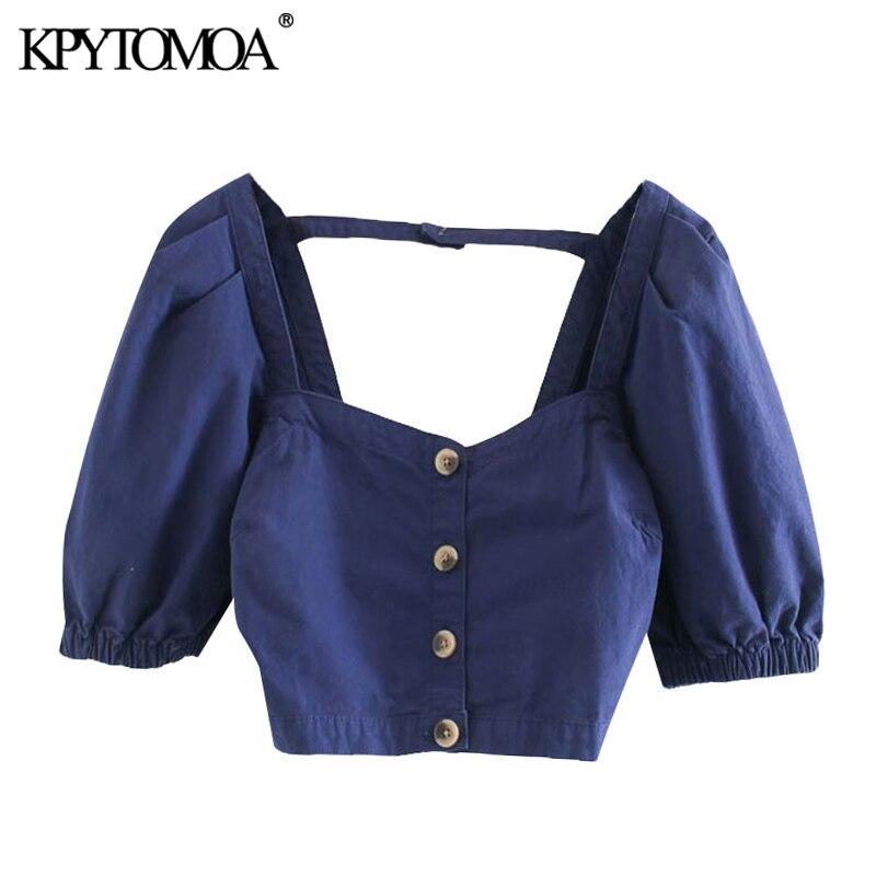 KPYTOMOA mujeres 2020 moda Botón-up Blusas recortadas Vintage cuadrado Collar Puff mangas Mujer Camisas Blusas Chic Tops