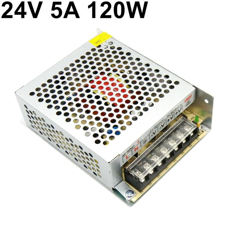 120 واط تحويل التيار الكهربائي 24 فولت 5A العالمي التيار المتناوب 110 فولت 220 فولت المدخلات إلى تيار مستمر 24 فولت لمراقبة التحكم الصناعي Led قطاع