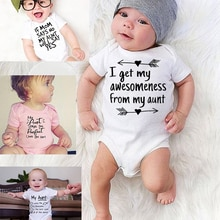 Toddler Jumpsuit My Aunt Says I'm Perfect Letter PrintSummer White Newborn Bodysuits Funny Auntie Ba