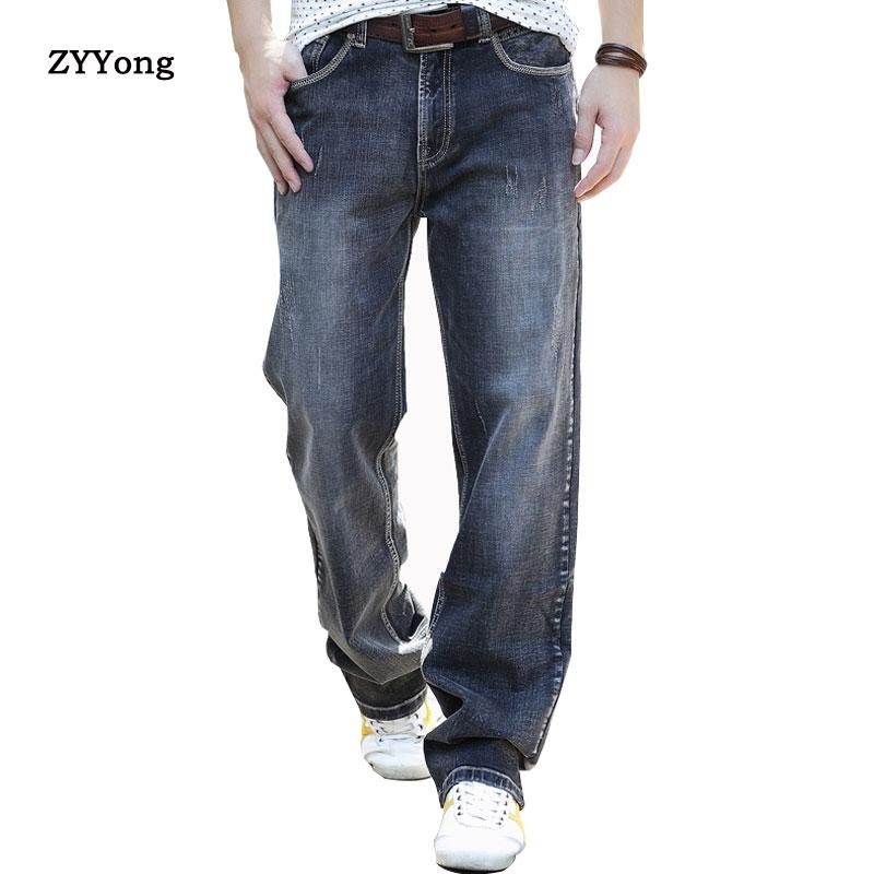 Джинсы ZYYong мужские с широкими штанинами, модные штаны для скейтборда в стиле хип-хоп, свободные серые джинсы, трендовые штаны