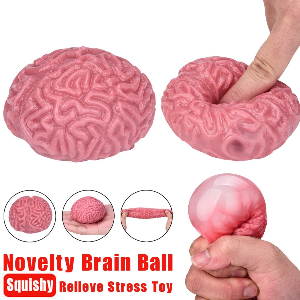 Novelty Squishy Brain Toy Squeezable Fun Toys Anti Relieve Stress Ball Cure Toy Gadgets Novelty Autism Mood Relief Squishy Toy