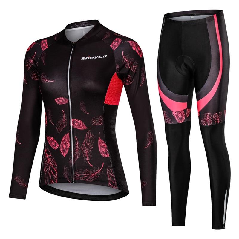 Women Cycling jersey Long Sleeve Set  Mountain Bicycle  Clothing Suit Anti-UV MTB Bike Clothes Cycling Uniform