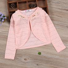 2021 Child Girl Cardigan Sweater Summer Beach Pink Cotton Cardigan Coat 1 2 3 4 6 8 10 Year Old Scho