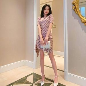 2021 New Summer Temperament Women's Plaid Slim  Puff Sleeve Skirt  Dress