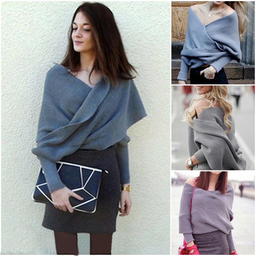 Autumn Fashion Women V-neck Convertible Multi Way Wrap Sweater Jumper Cardigan Knitwear Outwear Tops