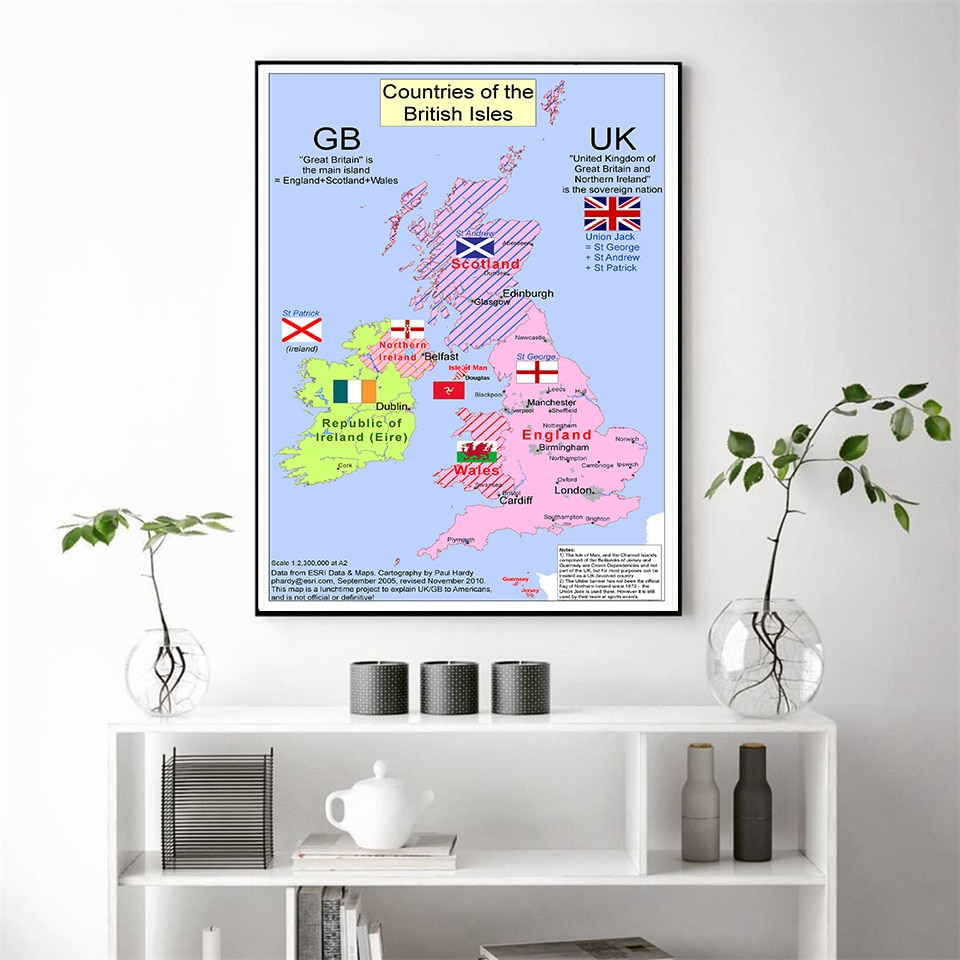 2010 The United Kingdom Map 59*84 cm Wall Art Poster Canvas Painting Living Room Home Decoration Travel School Supplies