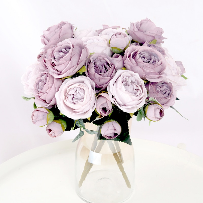 1 Bouquet 9 heads Artificial Flowers Peony Tea Rose Autumn Silk Fake Flowers for DIY Living Room Hom