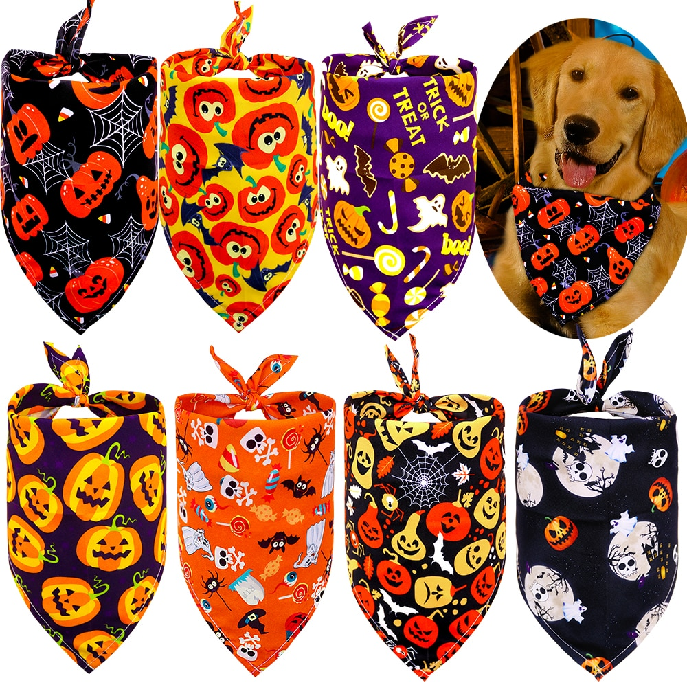 50pcs Dog Bandana Halloween Pet Supplies Small Dog Cat Puppy Bandanas Scarf Holiday Dog Accessories