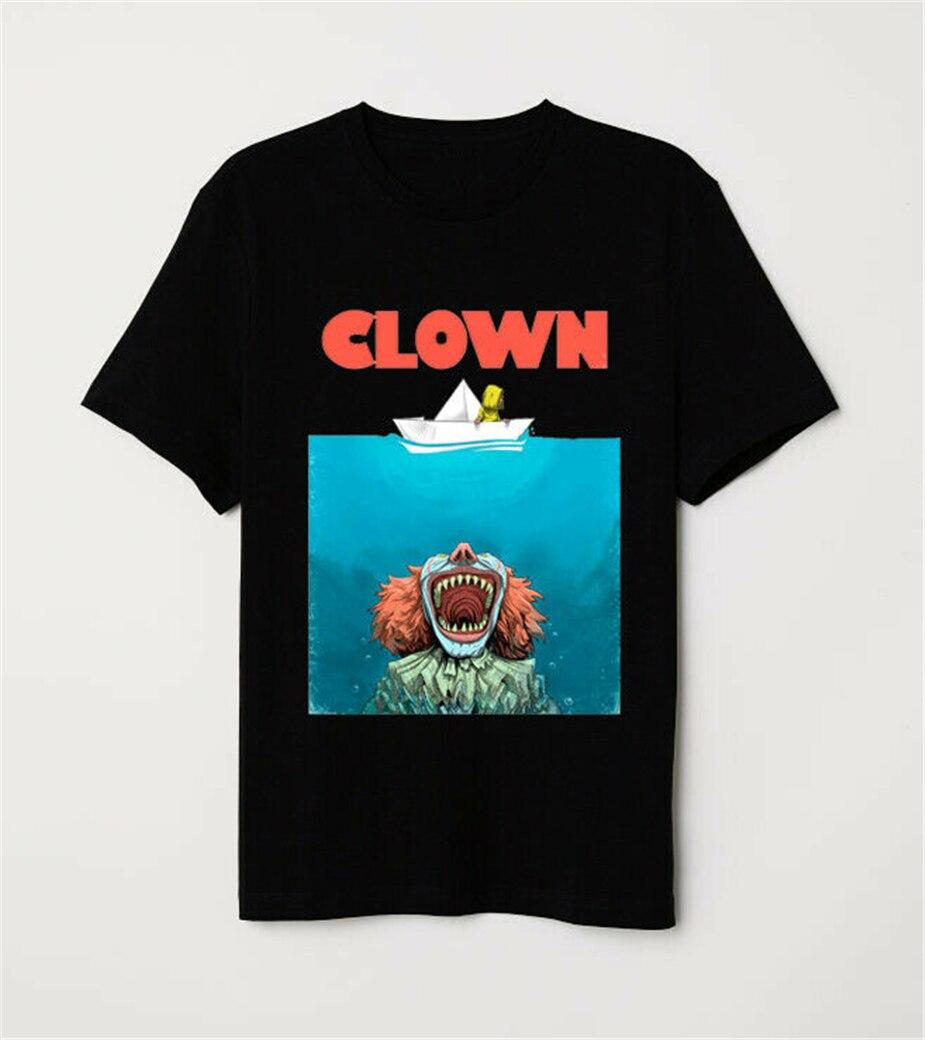 Póster de mandíbulas parodia Stephen King Pennywise payaso It divertido Horror camiseta negra Camiseta deportiva