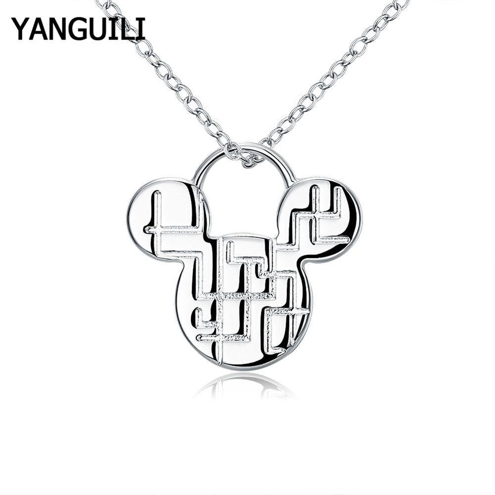 Бесплатная доставка 925 Серебряное ожерелье модная Милая подвеска «Микки мауз» ожерелье для женщин леди девушки ювелирные изделия подарок