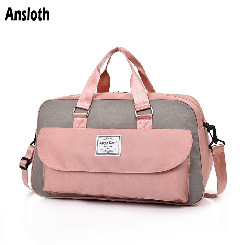 Ansloth Hit Color Travel Bags Women Nylon Sport Bags Ladies Luggage Handbags Big Shoulder Bags Female Travel Duffel Bags HPS796