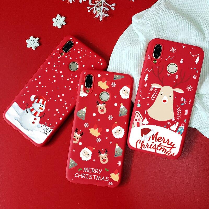 Feliz Navidad, caso de Huawei P8 P9 P10 Lite mini 2017 Y6 Pro Y9 primer 2018 P30 P20 Lite Pro P Smart 2019 Santa ciervo suave Capa