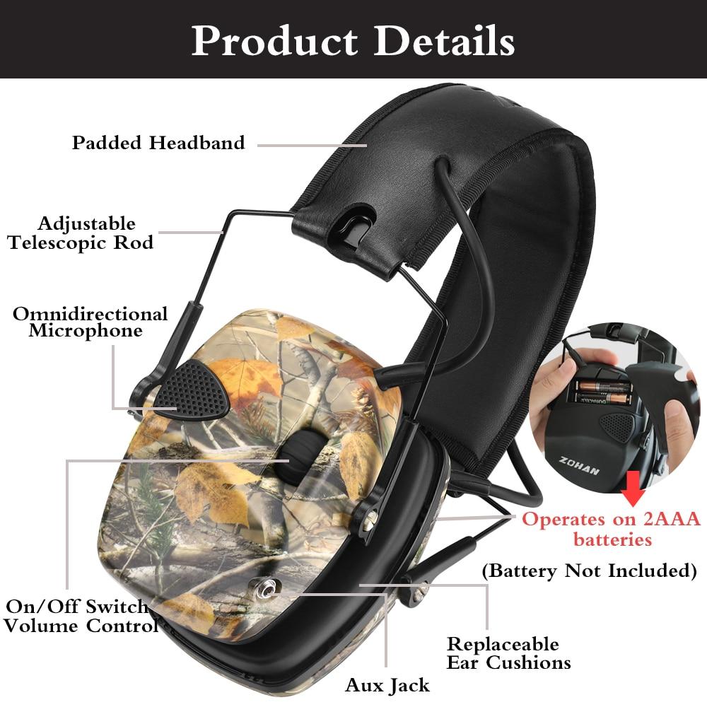ZOHAN – casque antibruit électronique tactique, pour la chasse, casque d'écoute, réduction du bruit, Protection auditive, NRR 22db