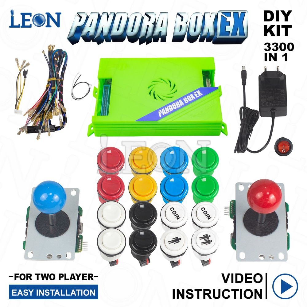2021 FHD 1080P Pandora Box EX 3300 in 1 Home Version Barton Arcade Pandora EX Kit Arcade 2 Player Diy Kit Sanwa Arcade Joystick