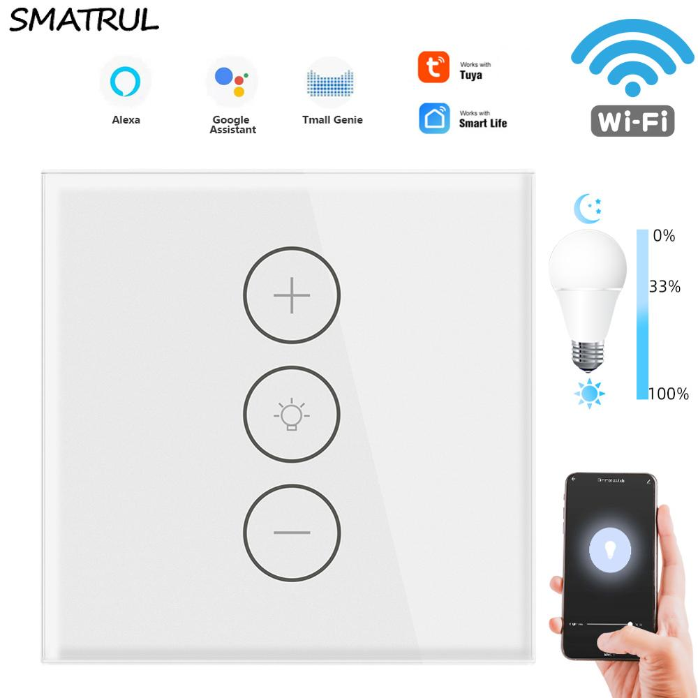 SMATRUL-مفتاح باهتة يعمل باللمس ، wi-fi ، TUya ، wi-fi ، تطبيق الاتحاد الأوروبي ، مؤقت لاسلكي ، جهاز تحكم عن بعد مع Alexa ، Google Home ، 220-110 فولت