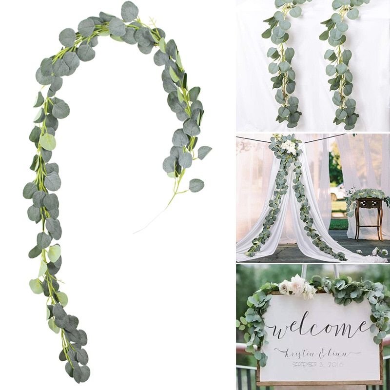 Artificial Green Eucalyptus Willow Leaves Garland Vine Wedding Greenery Home Birthday Party Table Wall Decoration