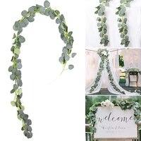 Guirlande de feuilles de saule deucalyptus vertes artificielles  decoration de mur de Table de fete danniversaire a la maison