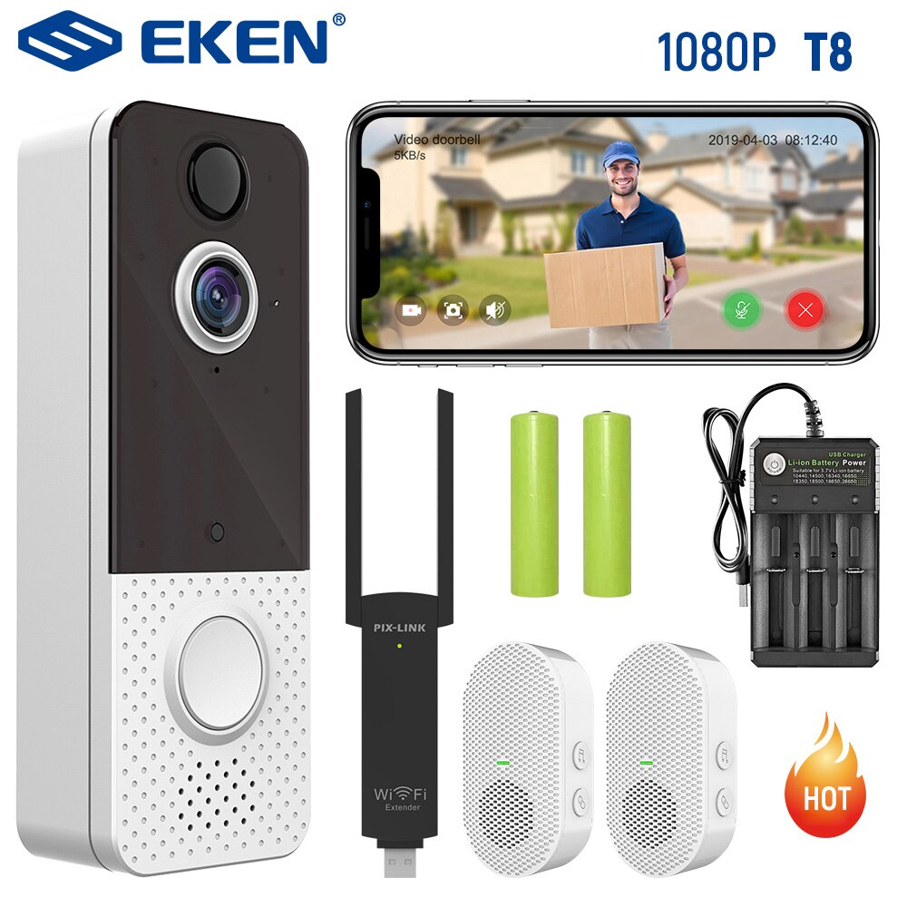 EKEN Smart Wireless Camera Video Doorbell Camera 1080P WIFI Waterproof  IP67 Visual Intercom Night Vision IP Door Bell PIR enlarge