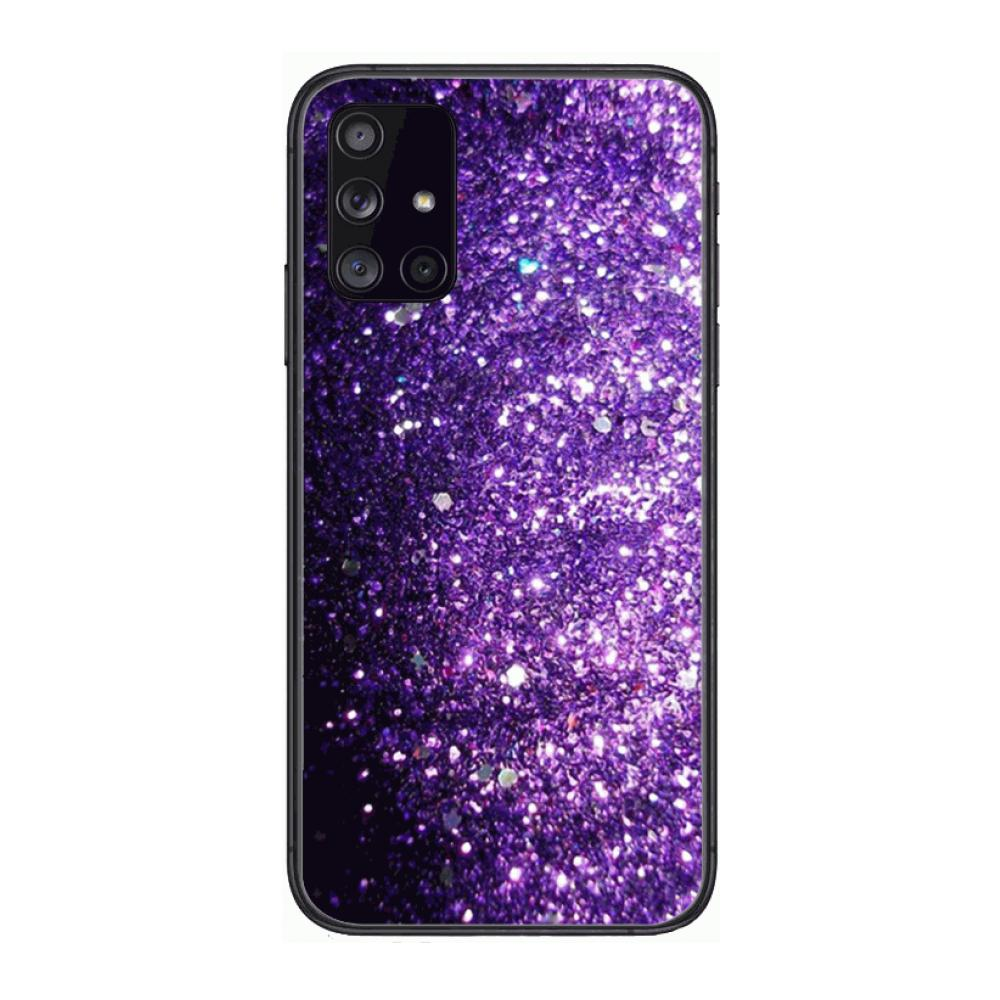 Cover Lovely Purple Glitter Phone Case Hull For Samsung Galaxy A 90 50 51 20 71 70 40 30 10 80 E 5G S Black Shell Art Cell Cov  - buy with discount