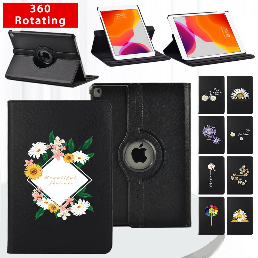 360 Degrees Rotating Folio PU Leather Case Flip Stand Cover for Apple IPad 2 3 4/ Mini 4/5/IPad 5/6/7/8th Smart Tablet Case