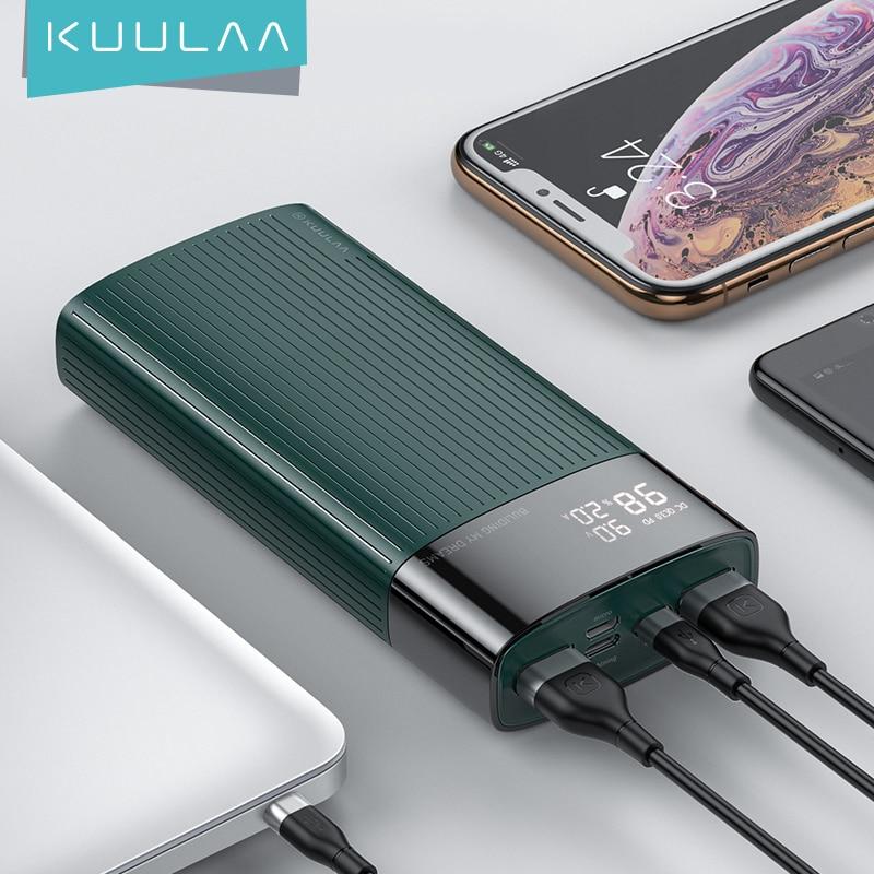 KUULAA تجدد PowerBank 20000 mAh QC PD 3.0 PoverBank سريع شحن قوة البنك 20000 mAh USB شاحن بطارية خارجية ل Xiaomi مي 10 9