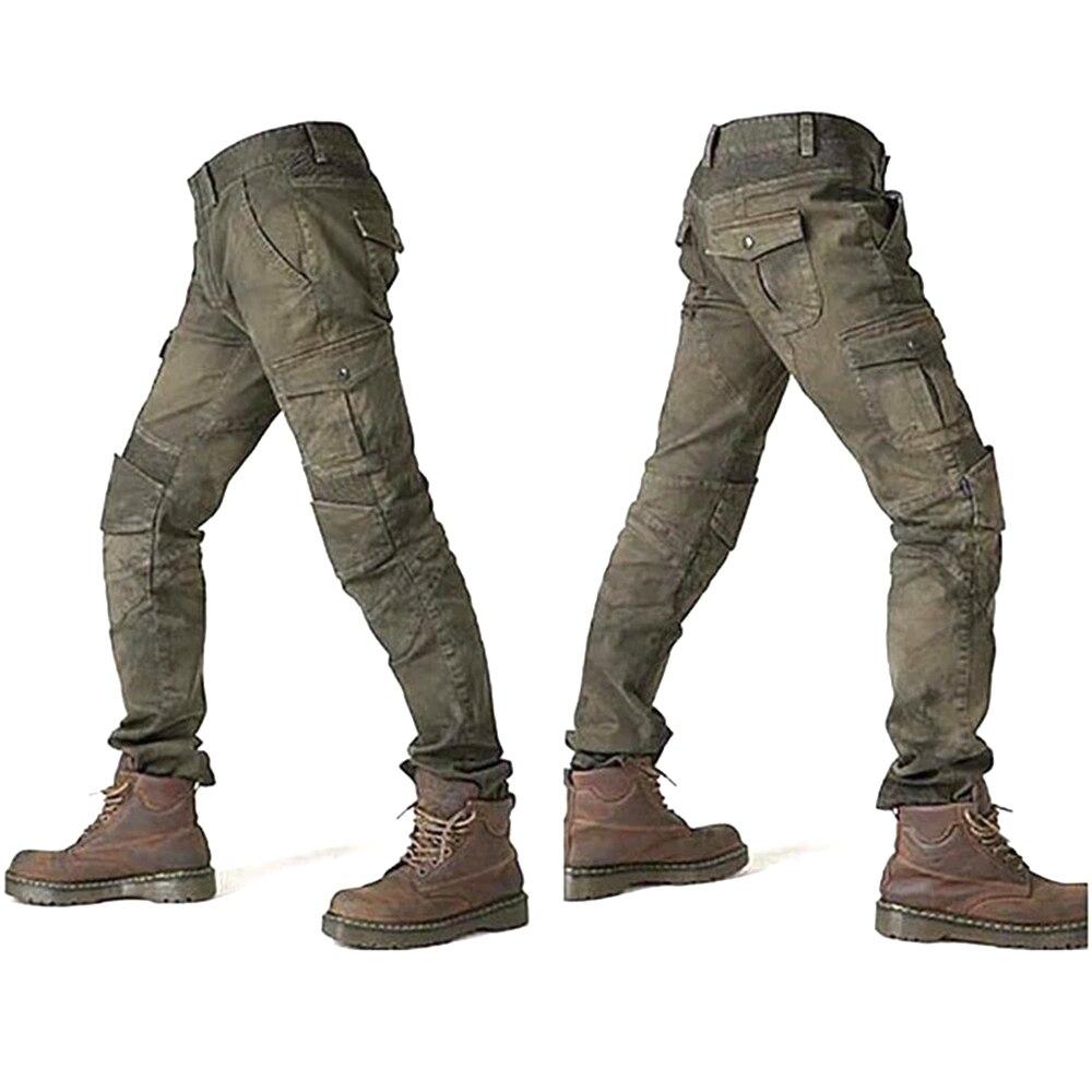Джинсы мужские мотоциклетные и осенние, всесезонные эластичные джинсы, армейские зеленые черные гоночные брюки, распродажа