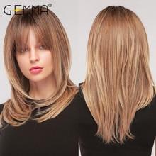 Parrucche naturali ondulate medie sintetiche GEMMA con frangia per donna nera afroamericana Ombre nero marrone Cosplay capelli finti