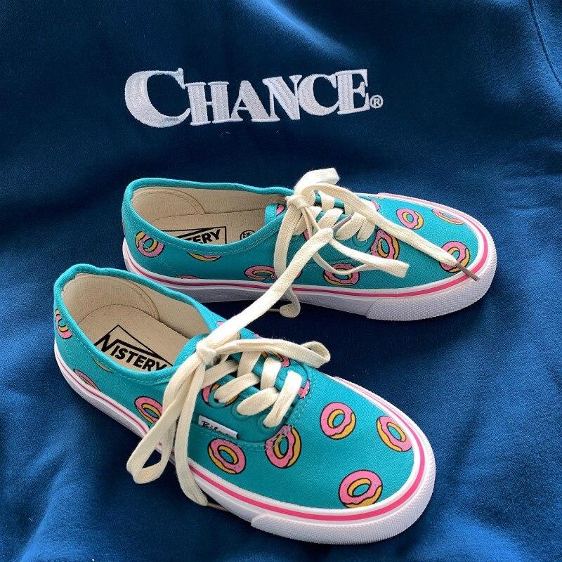 Zapatos de lona Chic Niña primavera otoño dibujos animados Donut Cute zapatillas con estampado de Donut zapatillas deporte informales 35-40 con cordones bajos