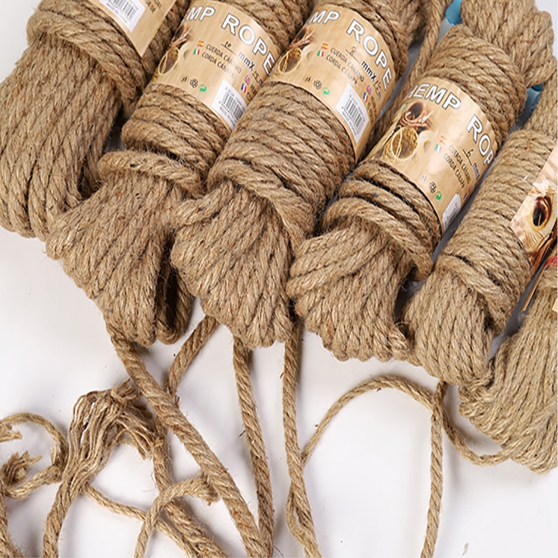 10M Natural Jute Rope Twine Rope Hemp Twisted Cord Macrame String DIY Craft Handmade Decoration Pet Scratching 4mm-12mm