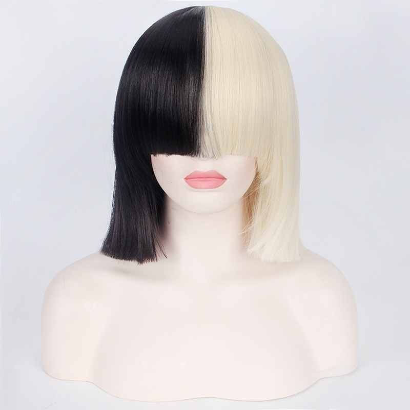 This is Acting SIA Cosplay Wig 35cm Half Blonde Black Bob Wigs With Bangs Women short Straight Synthetic Hair Halloween Costume