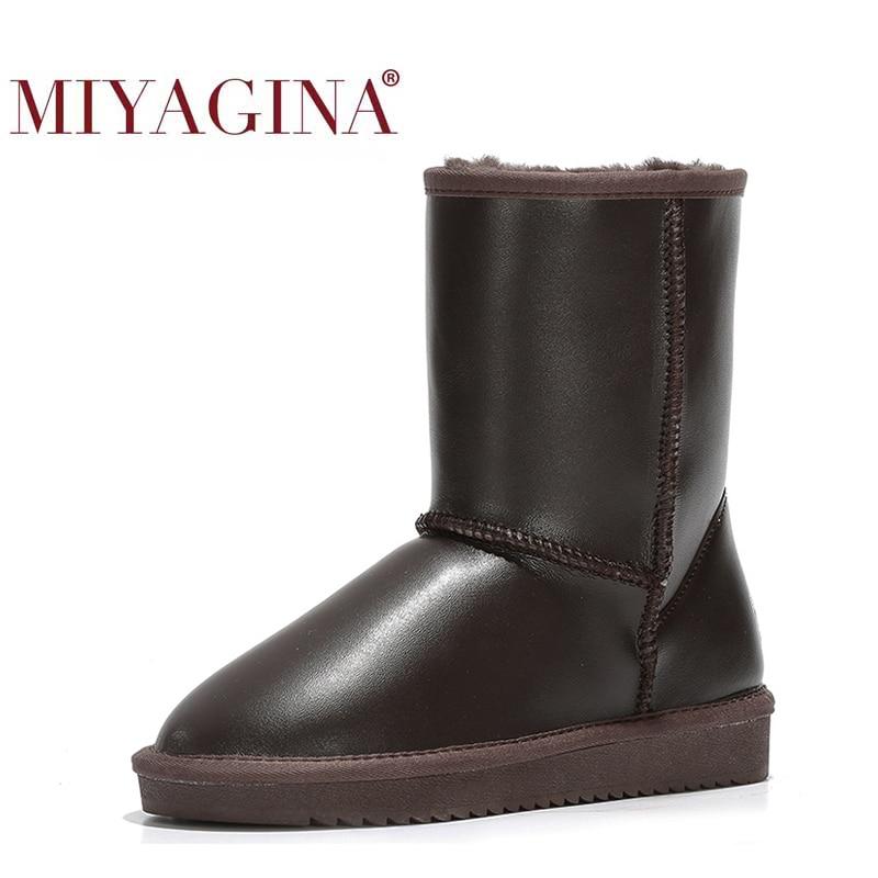 ¡Novedad! Botas de nieve MIYAGINA para mujer, botas 100% de piel auténtica para mujer, botas cálidas de lana para invierno, envío gratis