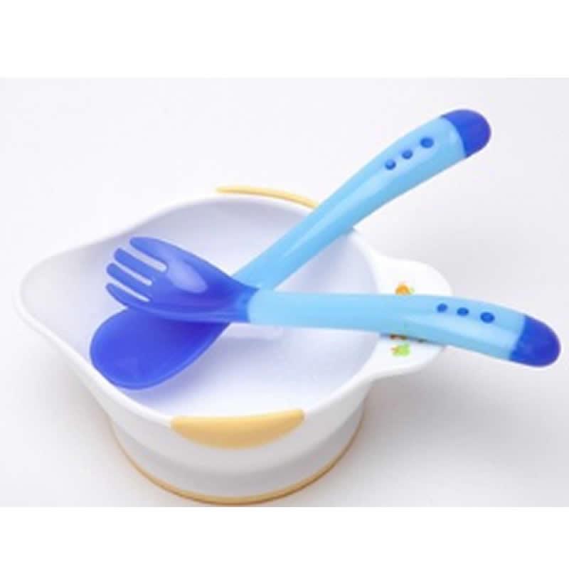 Cuchara de seguridad para bebés con detección de temperatura, cubiertos para niños, cuchara de alimentación para bebés, cuchara de silicio para bebés