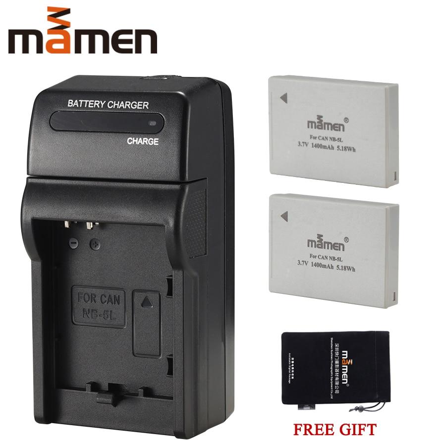 Mamen 2 uds 1400mAh NB-5L NB 5L NB5L batería de la Cámara li-ion + cargador de pared individual para Canon SX230 HS SX210 HS SX200 HS S100 S110