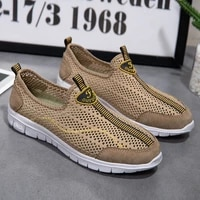 2021 new summer big mens leather casual shoes net vamp air permeable loafer hiking shoes and sandals