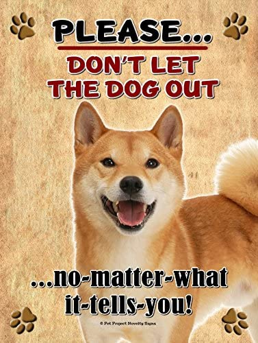 Shiba Inu - Don't Let The Dog Out. 9X12 Realistic Pet Image New Aluminum Metal Outdoor Dog Pet Sign. Will Not Rust!