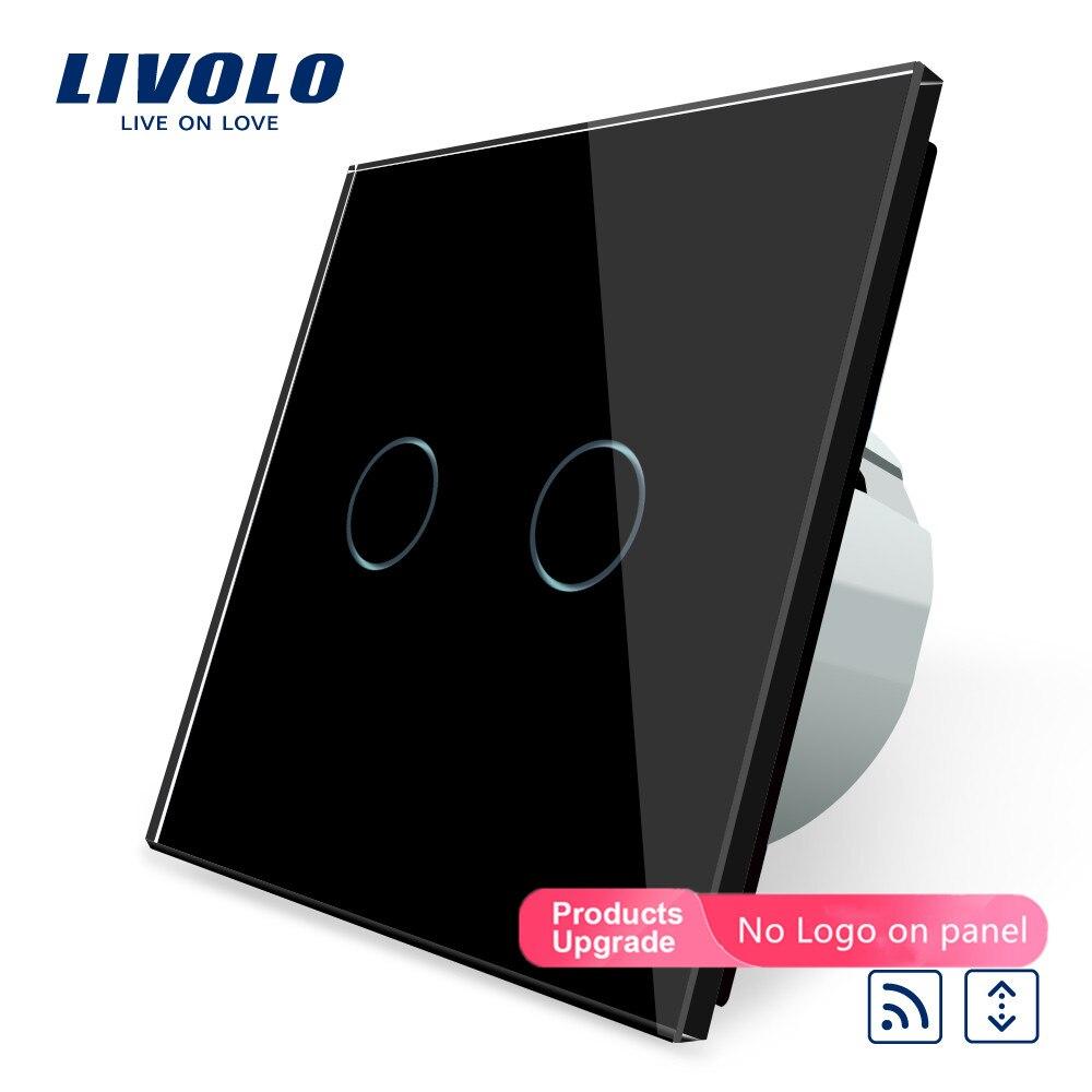Livolo, VL-C702WR-12 de interruptor para hogar con control remoto inteligente, estándar europeo, con Panel de cristal negro de lujo