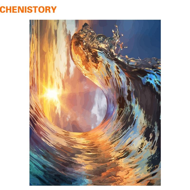 Kit de cuadro de ondas de CHENISTORY DIY con números, cuadro de Arte de pared con paisaje moderno para decoración del hogar, lienzo con números, arte de 60x75cm
