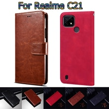 Phone Cover For Realme C21 Case Leather Wallet Book Funda For Realme C 21 Case Flip Screen Protectiv
