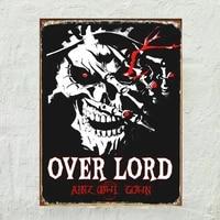 vintage overlord skull tin sign retro metal sign metal poster metal decor wall sign wall poster wall decor home office bar