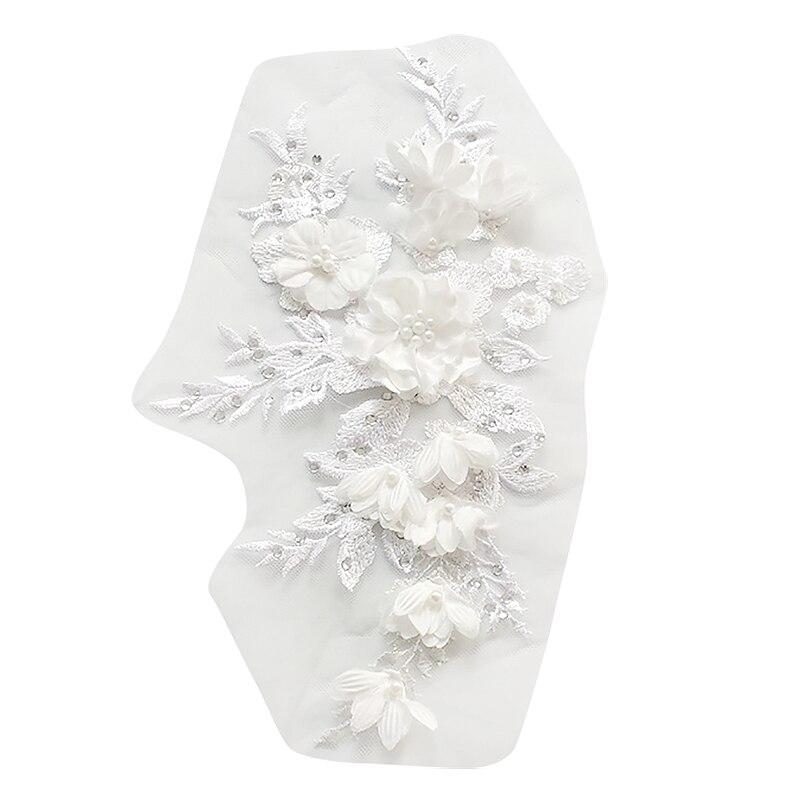 Frisado quente perfuração rendas nupcial frisado flores bordado remendos para roupas de casamento diy decoração vestido ferro na costura applique