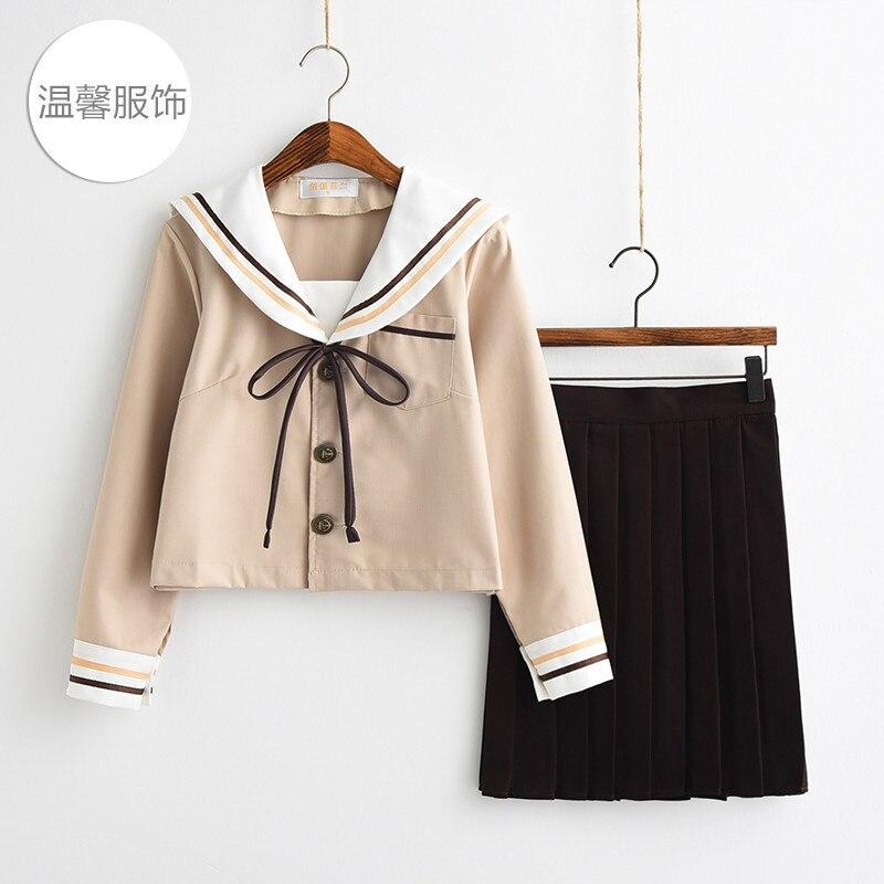 Japanese fresh milk tea two sailor's suits female college class soft girl uniform pleated skirt student suit